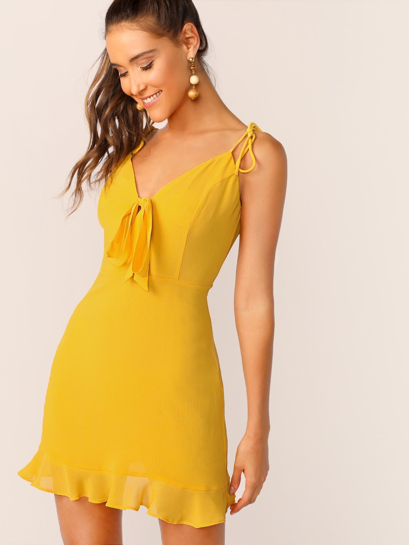 Tie Neck and Shoulder Ruffle Hem Dress - BrandsGuru