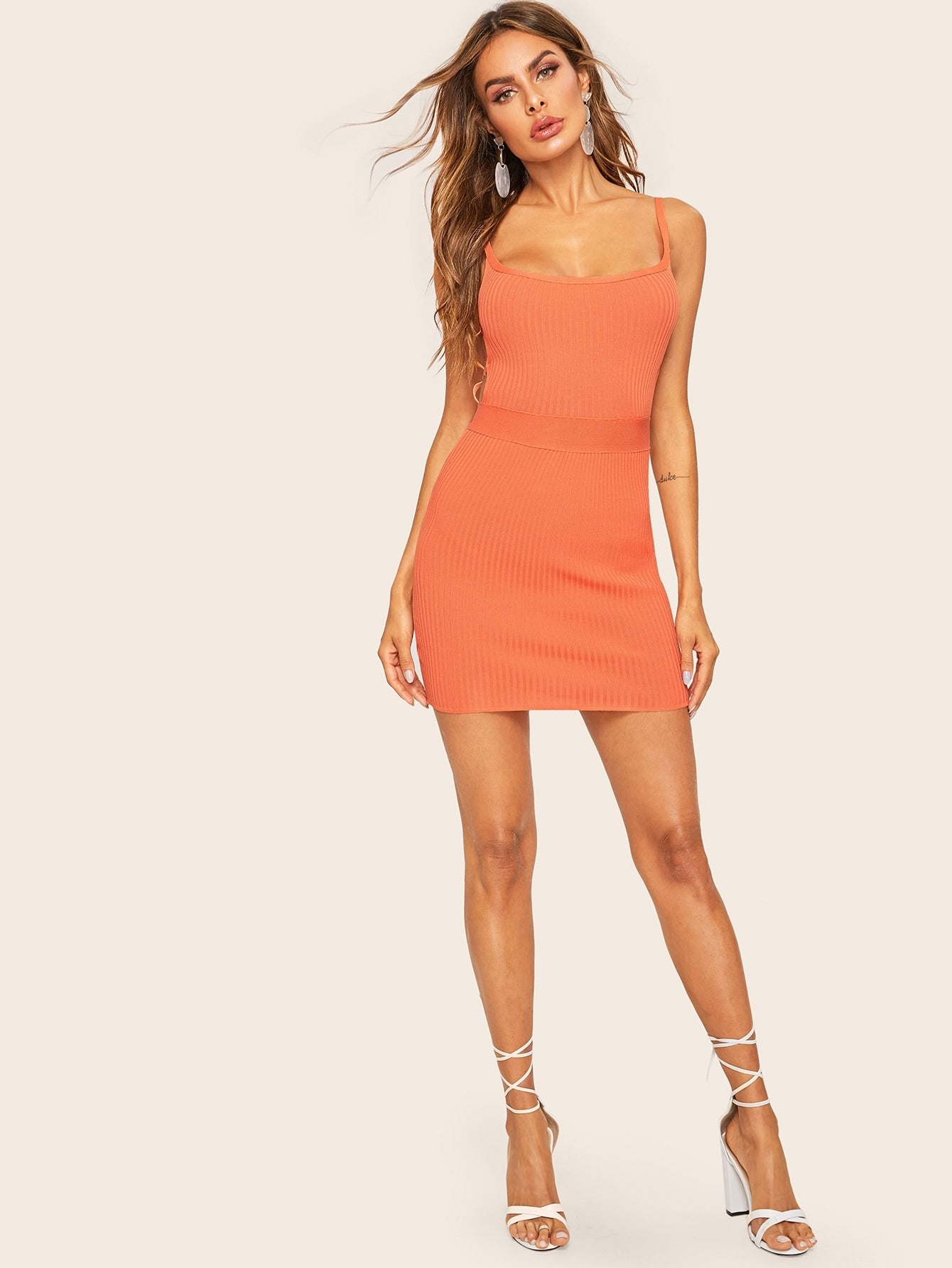 Criss-cross Backless Rib-knit Bodycon Slip Dress