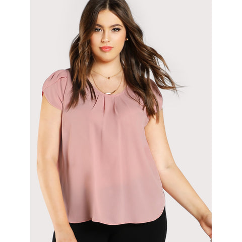 Trendy Plus Tulip Sleeve Pleated Neck Top