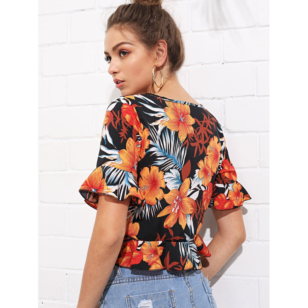 Casual Twist Front Bell Sleeve Tropical Top - BrandsGuru