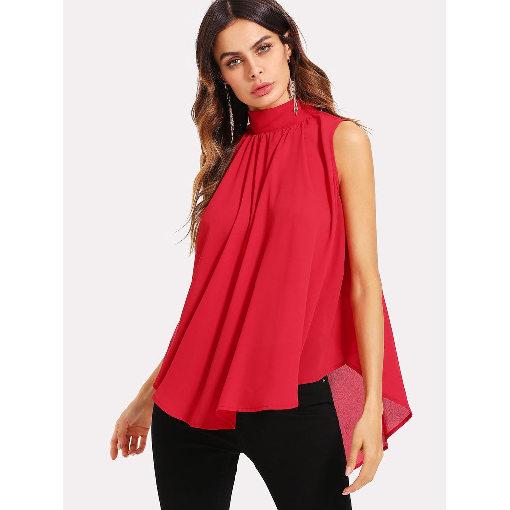 Stylish Neck Pleated Front High Low Top