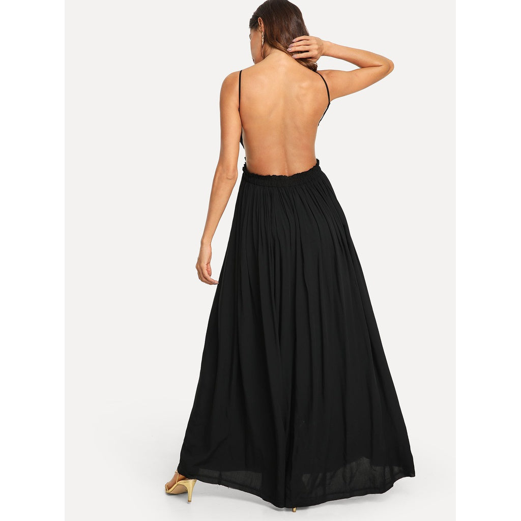 Elegant Lace Overlay Backless Maxi Dress