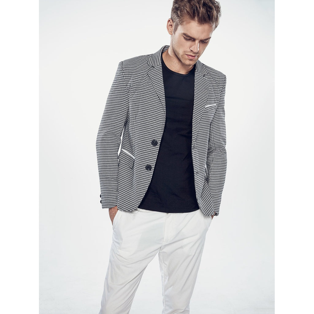 Trendy Fashion Style Men Houndstooth Blazer