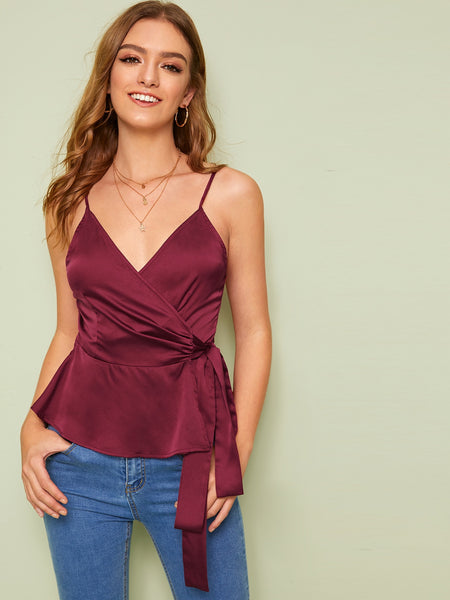 Summer Casual  Wrap Satin Slip Top