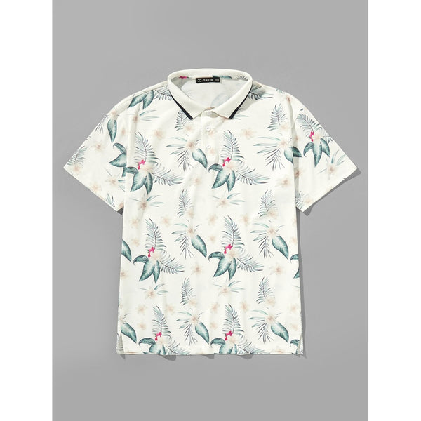 Casual Men Tropical Print Polo Shirt