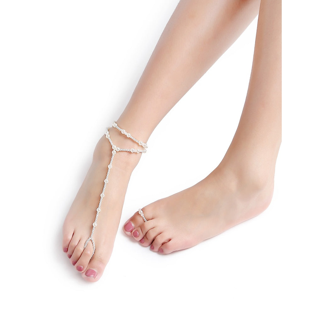 Desi Style White Beaded Foot Chain - BrandsGuru