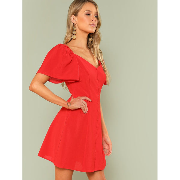 Exotic New Bishop Sleeve Button Up Dress - BrandsGuru