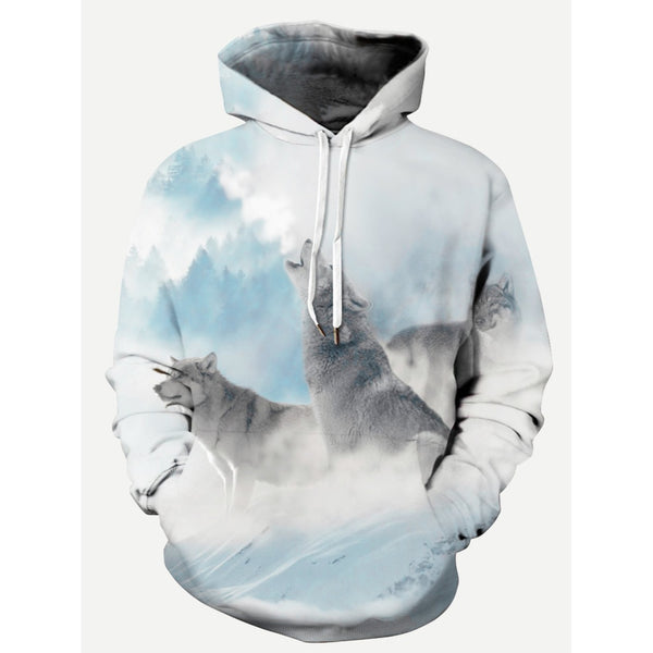 Men Wolf 3D Style Hooded Sweatshirt - BrandsGuru