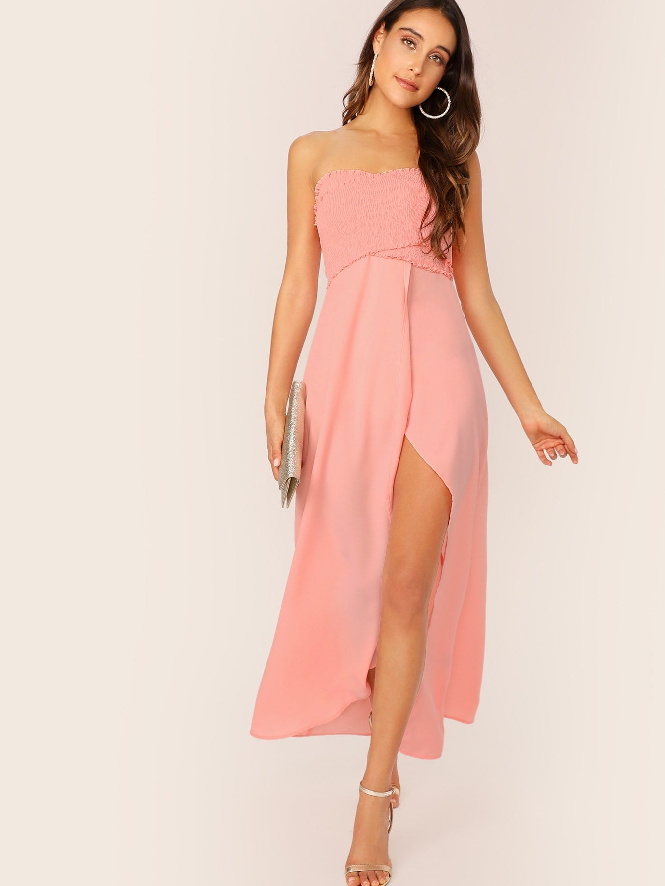 Frill Trim Shirred Slit Summer Dress - BrandsGuru
