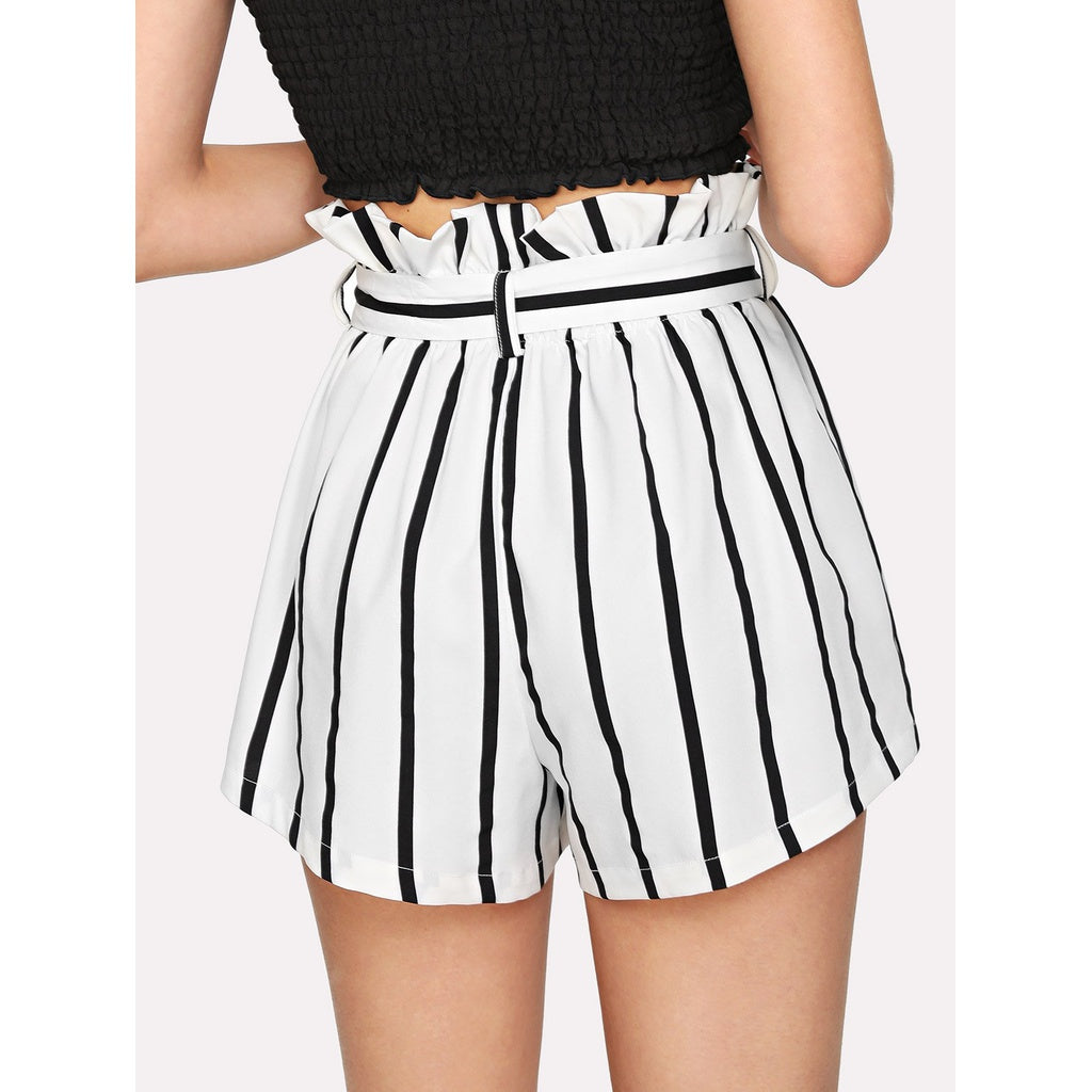 Italian Style Self Tie Waist Frill Trim Striped Shorts