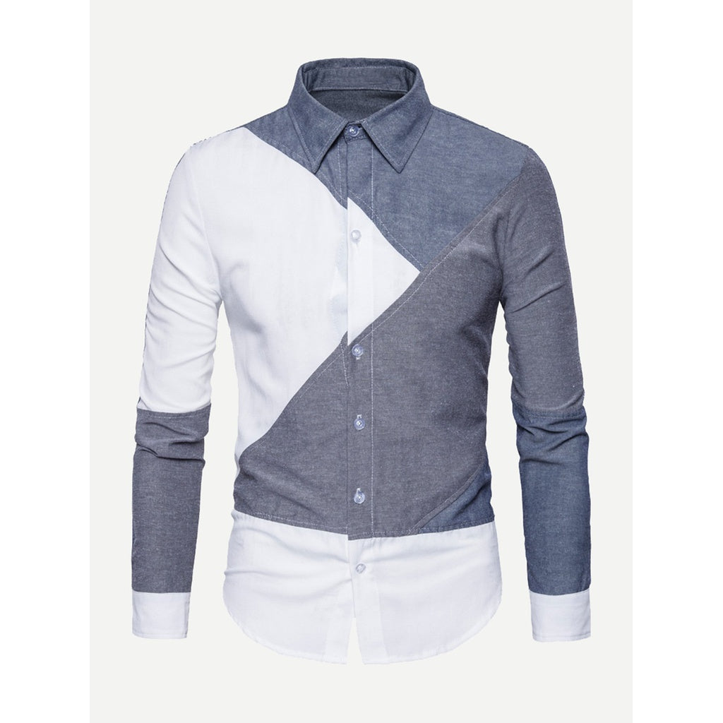 Trendy Italian Style Men Cut And Sew Panel Shirt