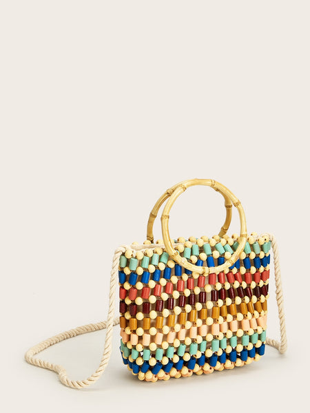 Double Handle Beaded Color-block Tote Bag - BrandsGuru