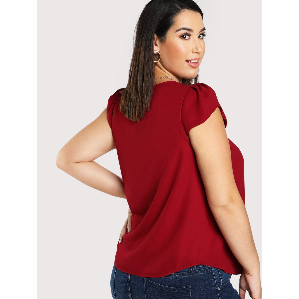Plus Tulip Sleeve Pleated Neck Top - BrandsGuru
