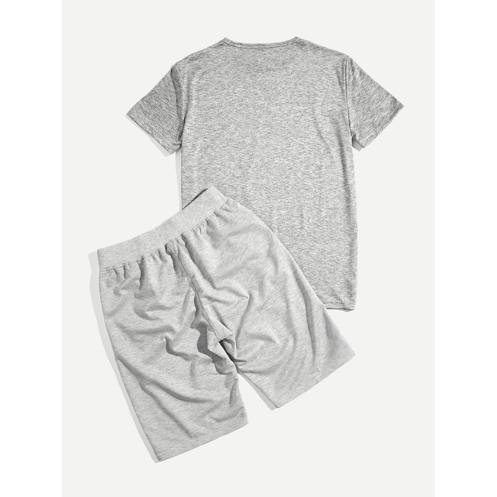 Men Letter Style Tee With Drawstring Shorts