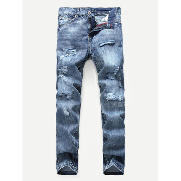 Men Trendy Solid Ripped Jeans - BrandsGuru