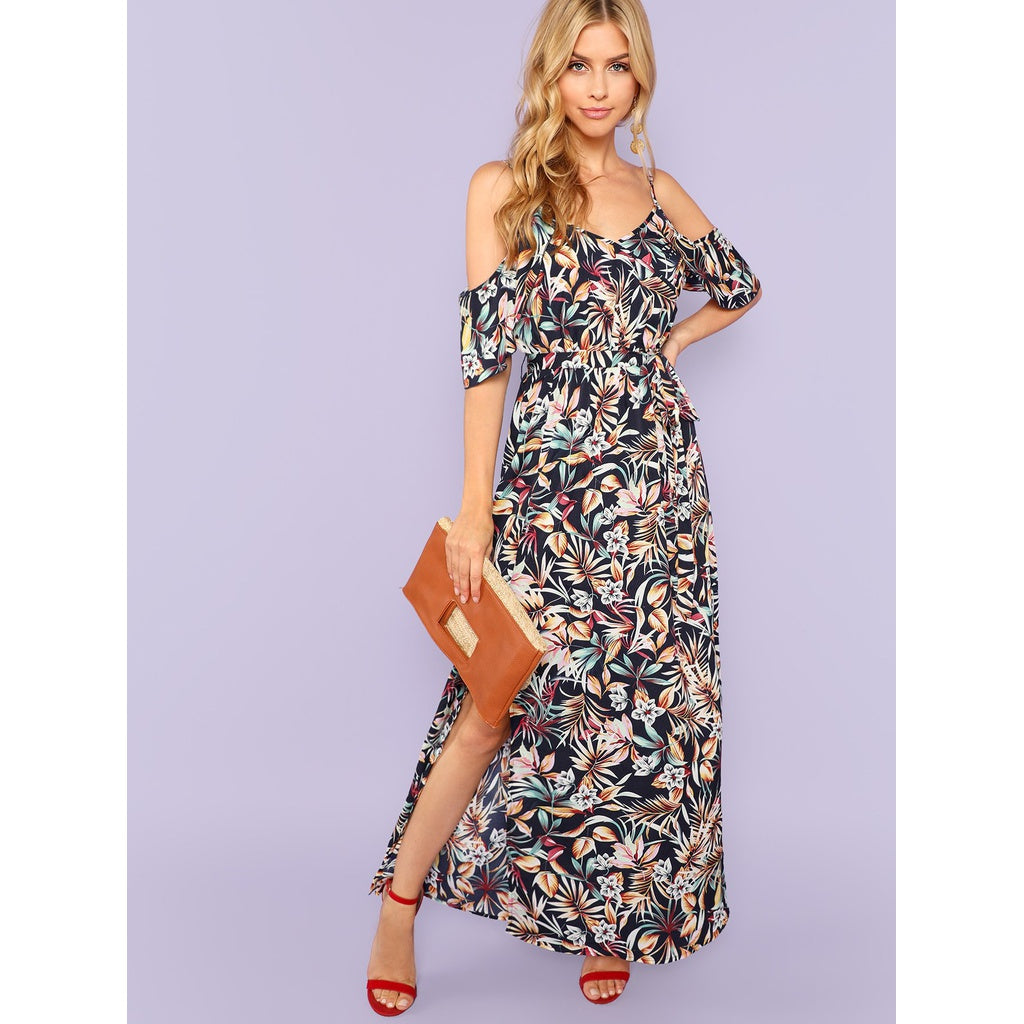 Shoulder Split Hem Botanical Print Dress - BrandsGuru