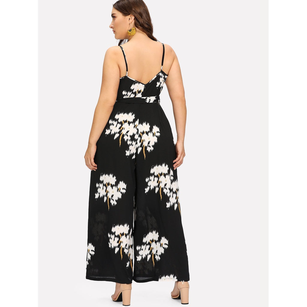 New Unique Belted Floral Wrap Cami Jumpsuit