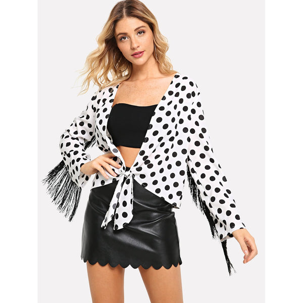 New Sublime Embellished Knot Hem Polka Dot Top - BrandsGuru