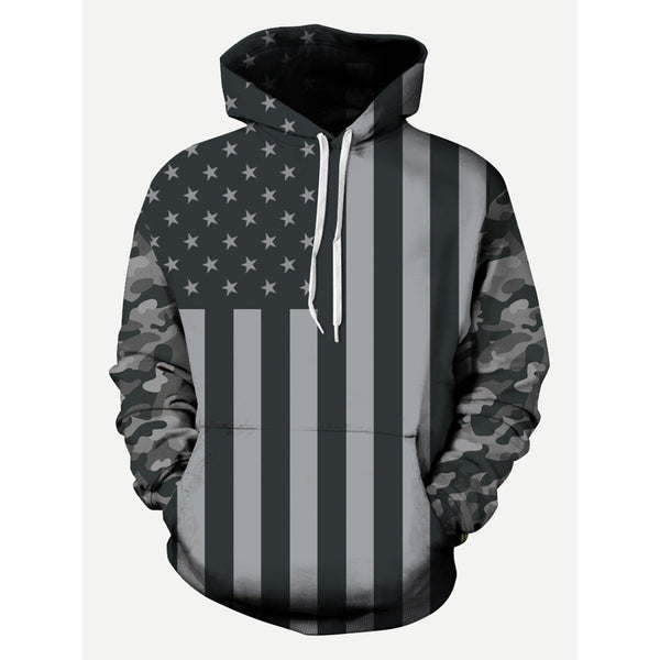 Men American Flags Style Hooded Sweatshirt