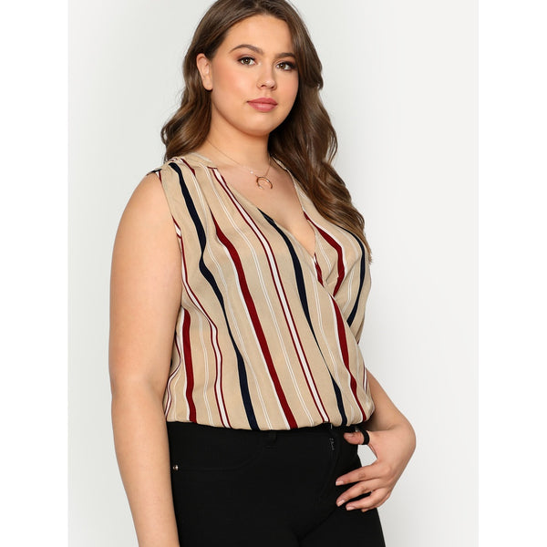 New Trendy High Low Striped Sleeveless Overlap Blouse