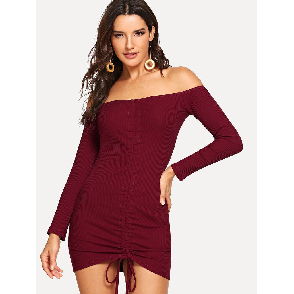 Casual Off The Shoulder Drawstring Front Dress