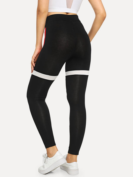 Sporty Cut and Sew Leggings - BrandsGuru