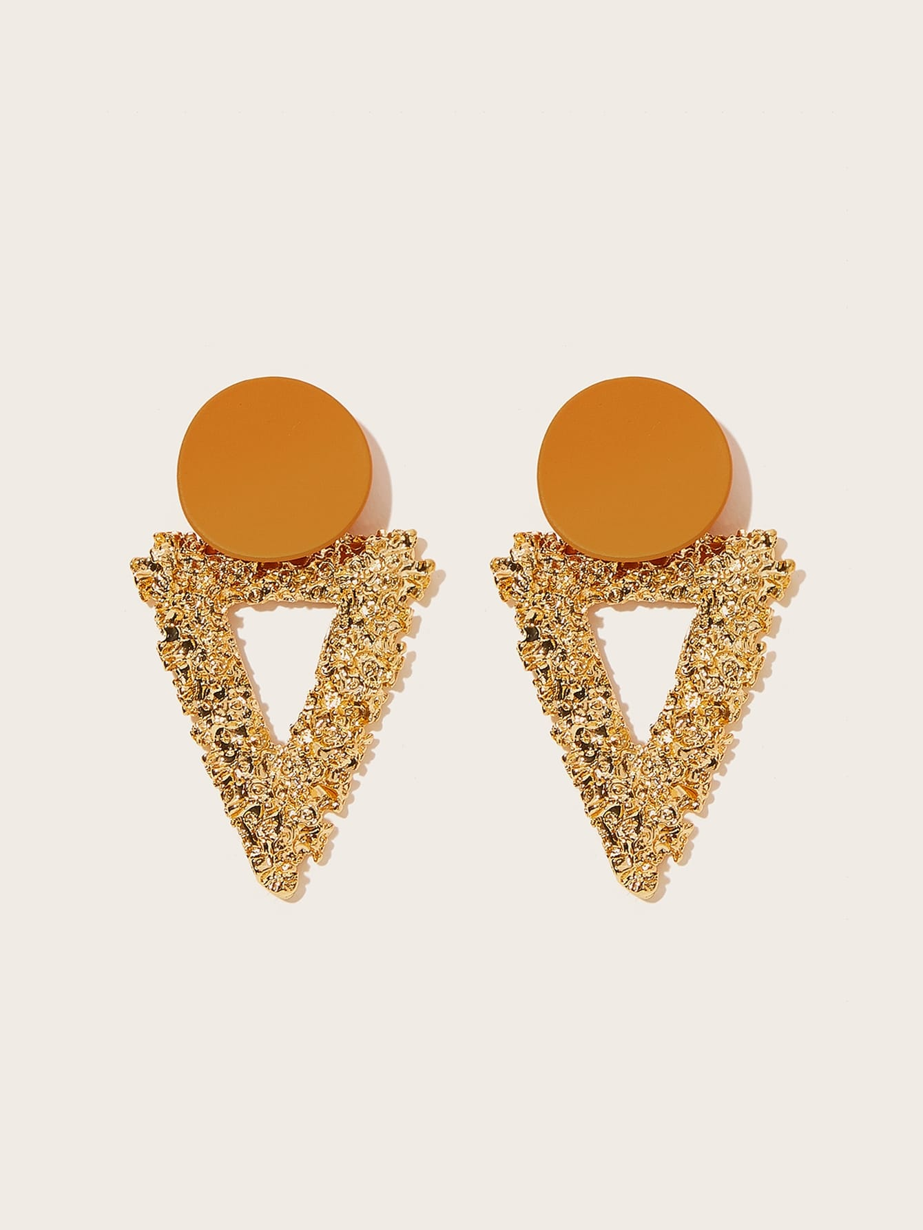 Desi Round & Textured Triangle Drop Earrings 1pair - BrandsGuru