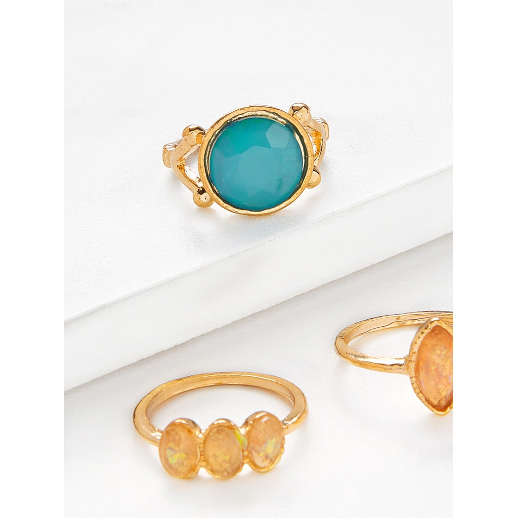 Gemstone Antique Style  3pcs Ring Set - BrandsGuru