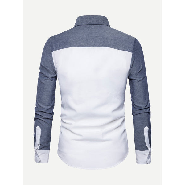 Trendy Italian Style Men Cut And Sew Panel Shirt - BrandsGuru