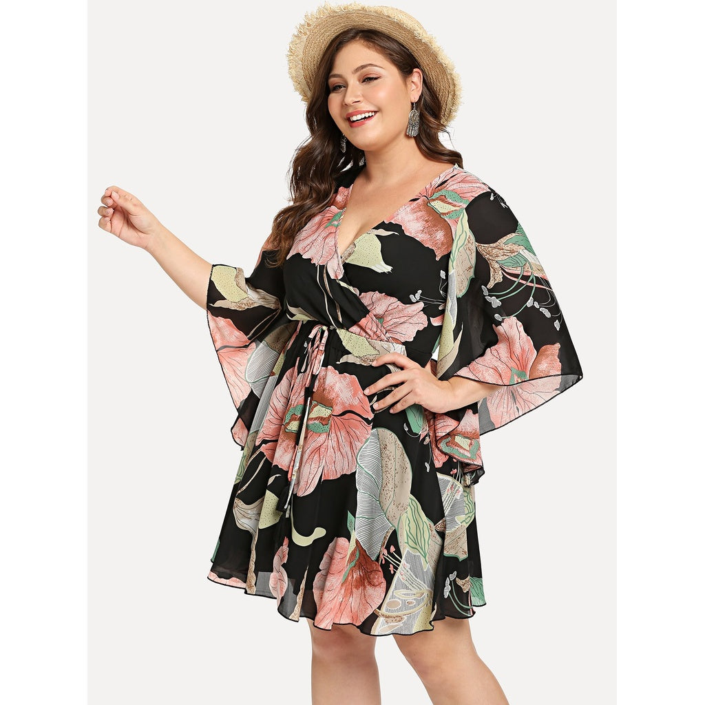 Lovely New Flower Print Wrap Dress