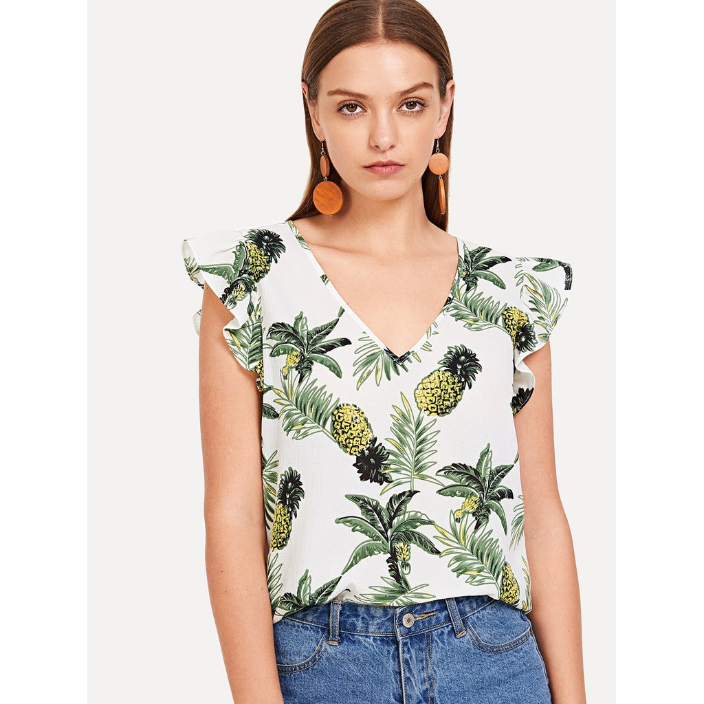 Gorgeous Pineapple Print V-Neck Ruffle Top