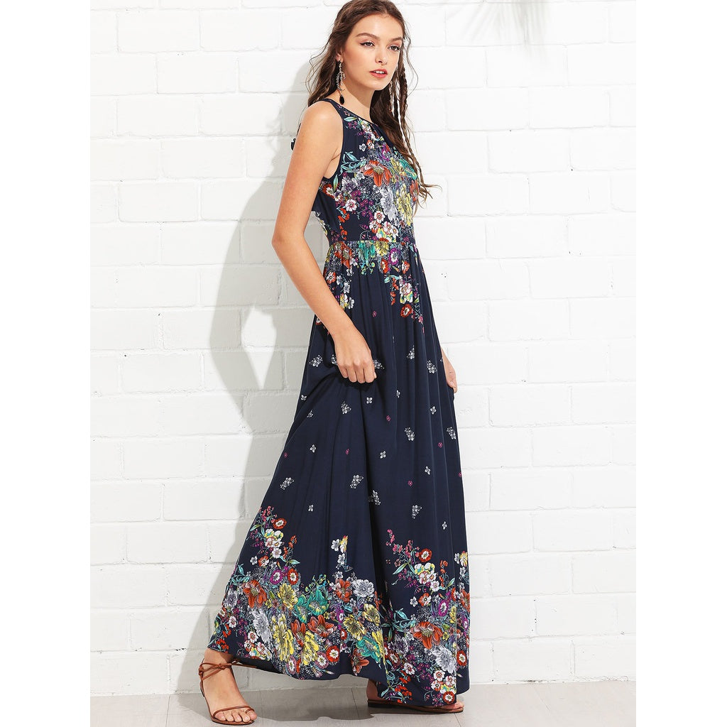 Gorgeous Knot Back Ruffle Trim Botanical Maxi Dress