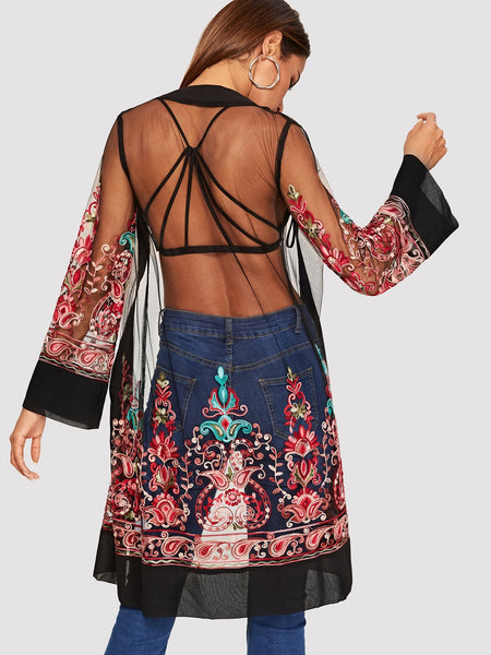 Long Sleeve Floral Embroidered Kimono
