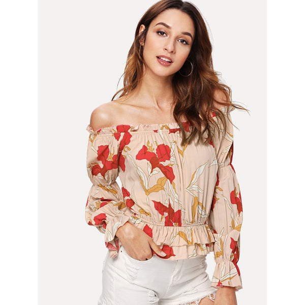 New Exotic Layered Ruffle Hem Floral Bardot Top
