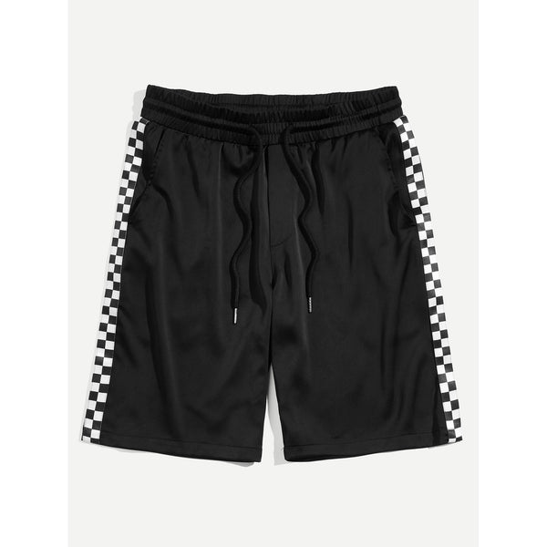 Men Checked Striped Lines Waist Shorts