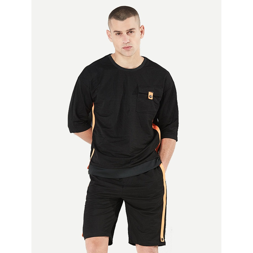 New Men Curved Hem Tape Style Tee With Drawstring Shorts