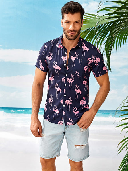 Men Flamingo Style Elegant Shirt - BrandsGuru