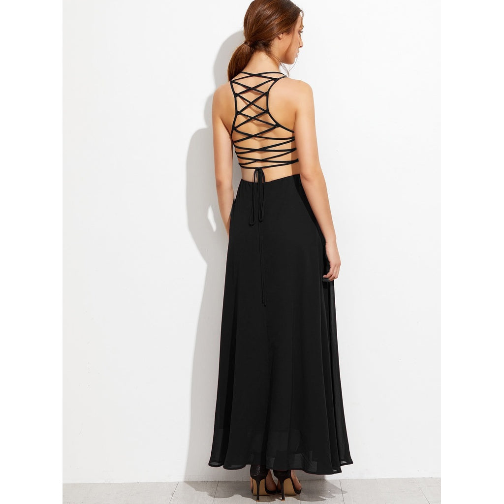 New Gorgeous Lace Up Back Cami Dress - BrandsGuru
