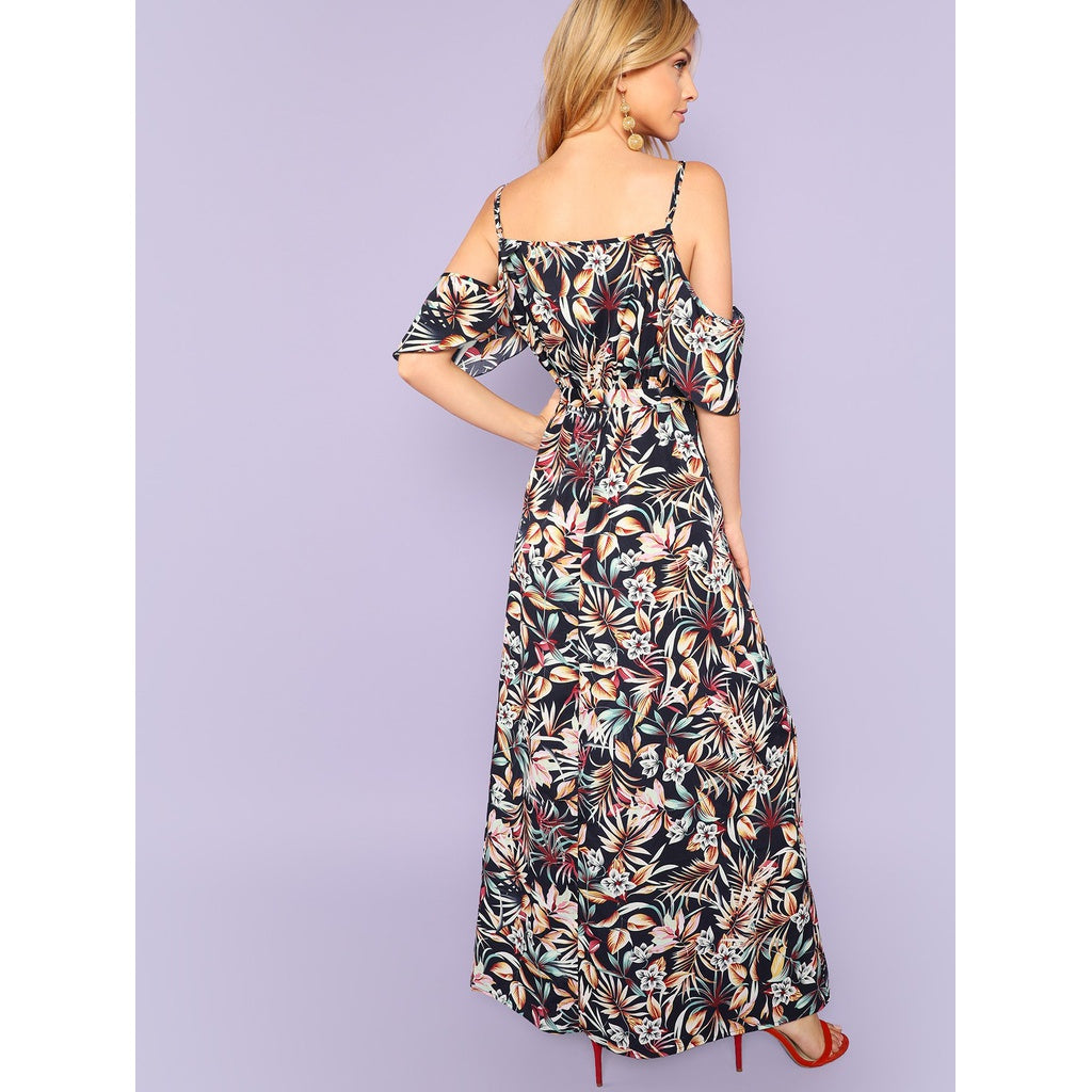 Shoulder Split Hem Botanical Print Dress
