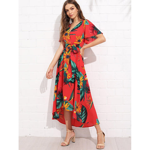Stunning Trumpet Sleeve Surplice Neck Floral Dress