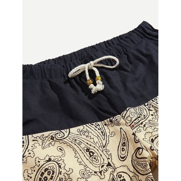 Men New Contrast Ornate Design Shorts