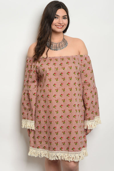 New Desi Style Stripes Floral Plus Size Dress
