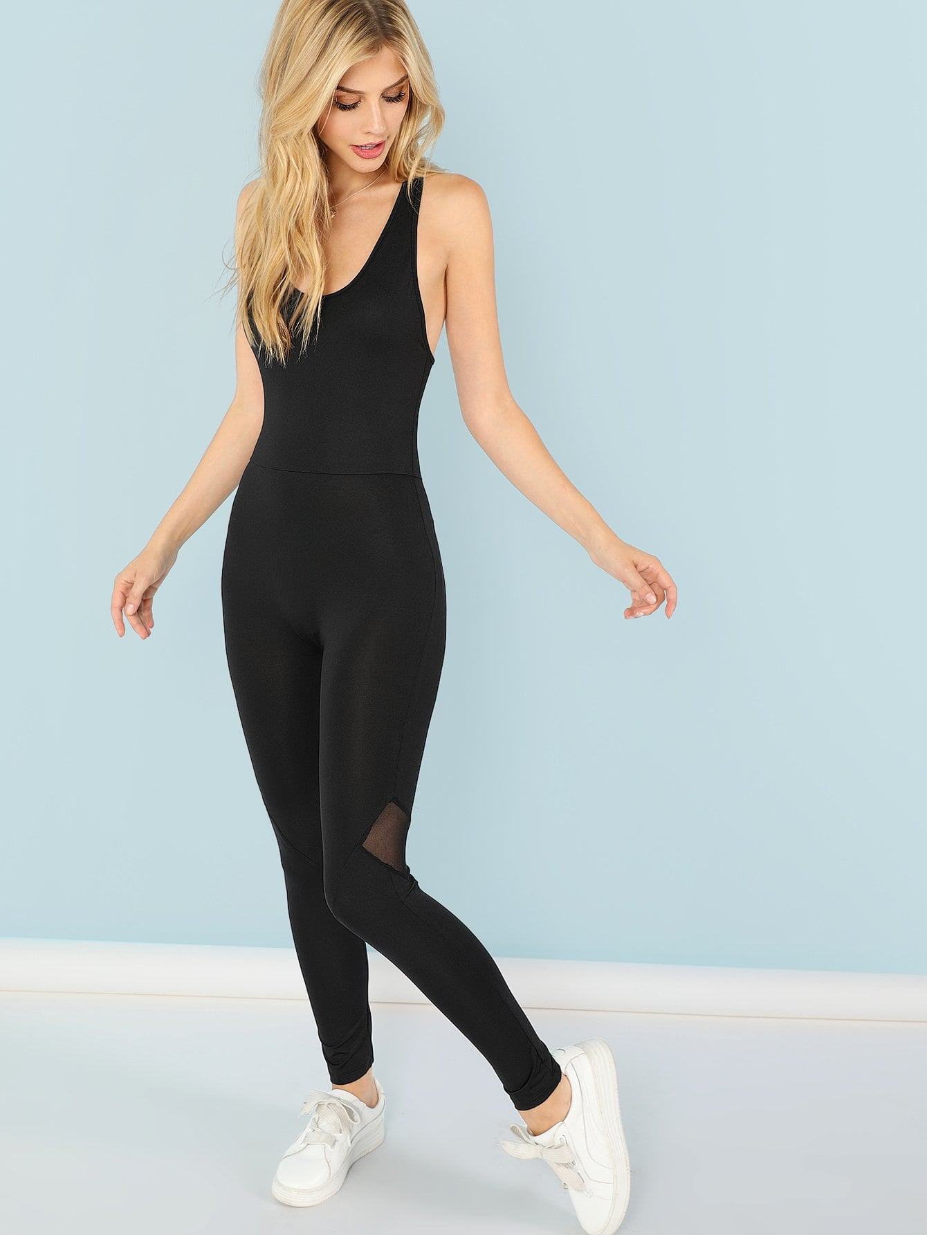 New Plain Skinny Shell Jumpsuit