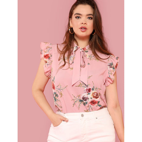 Exotic Style New Tie Neck Floral Ruffle Blouse