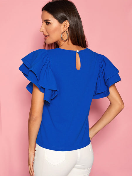 Summer Elegant Keyhole Back Layered Sleeve Top