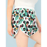 New Elegant Plus Tropical Design Dolphin Hem Shorts