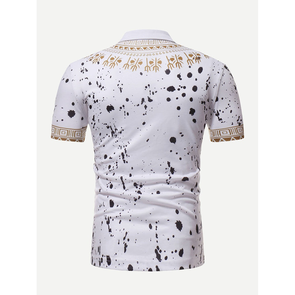 Men Desi Ornate Art Paint Splatter Polo Shirt