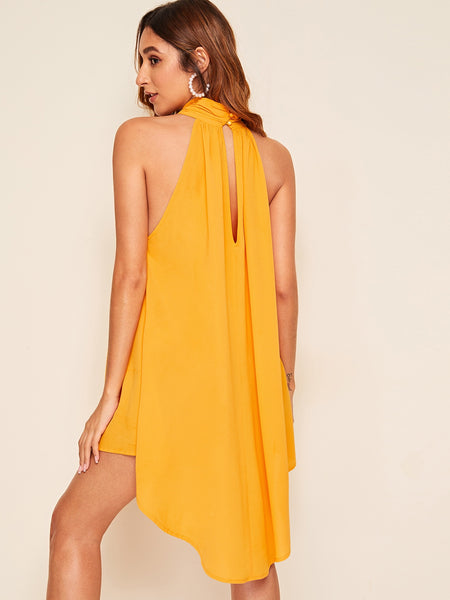 Summer Elegant Hem Swing Halter Dress - BrandsGuru
