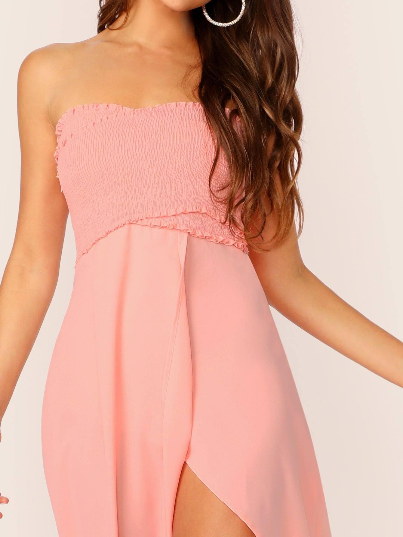 Frill Trim Shirred Slit Summer Dress