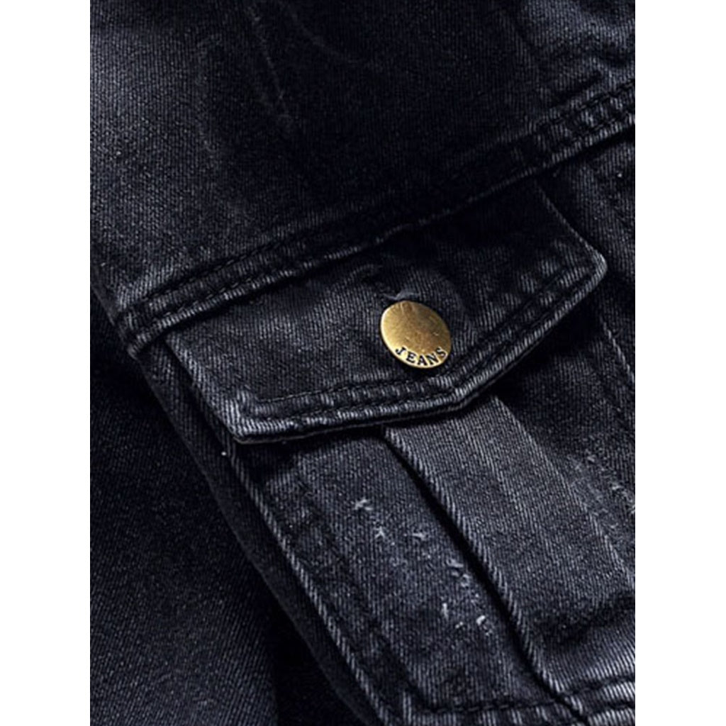 Men New Pocket Decoration Style Washed Denim Jacket